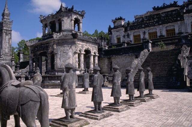 Statuary outside Khai Dinh tomb in Hue Vietnam